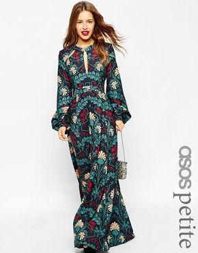 ASOS PETITE - Maxi robe style caftan à détail goutte d'eau et imprimé fleuri
