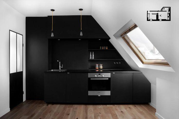 cuisine noire peinture ardoise porte fer et verre fum type atelier suspensions zangra. Black Bedroom Furniture Sets. Home Design Ideas