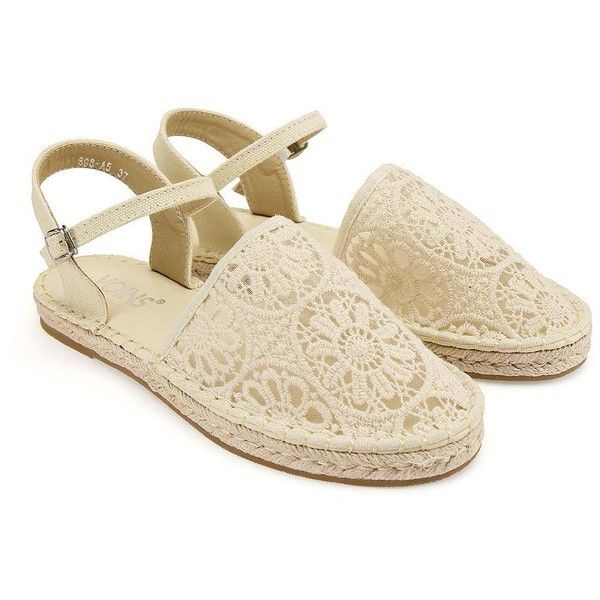 Yoins Lace Espadrilles (€30) ❤ liked on Polyvore featuring shoes, sandals…