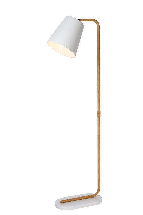 bol.com | Lucide Cona - Vloerlamp - Scandinavisch design - Houtfineer/metaal - Wit | Wonen