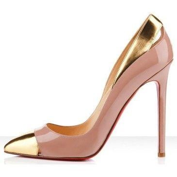 This is classy....Louboutin Pink, Fashion, Louboutin Sho, Gold Louboutin, Gold Heels, High Heels, Christian Louboutin, Christianlouboutin, Gold Shoes