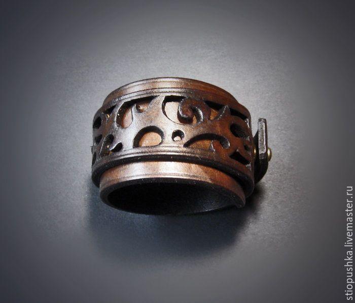 Купить Браслет кожаный Спираль - коричневый, темно-коричневый, браслет из кожи, кожаный браслет