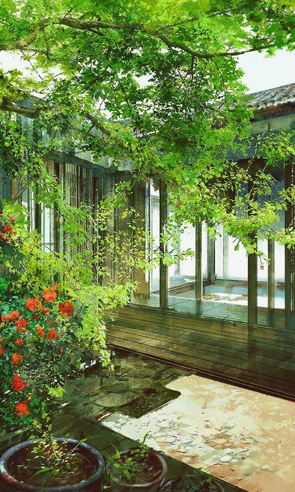 Center wellness garden ; A small manicured garden...