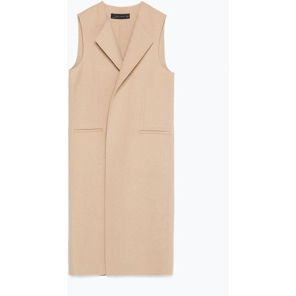 Zara Hand Made Waistcoat (2 315 ZAR) ❤ liked on Polyvore featuring outerwear, vests, zara, beige, beige vest, zara vest and waistcoat vest