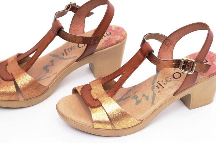 miMaO Eivissa S Cuero – Sandalias mujer tacón plataforma marrón oro cómodo piel - Comfort women's sandals heel platform brown gold leather