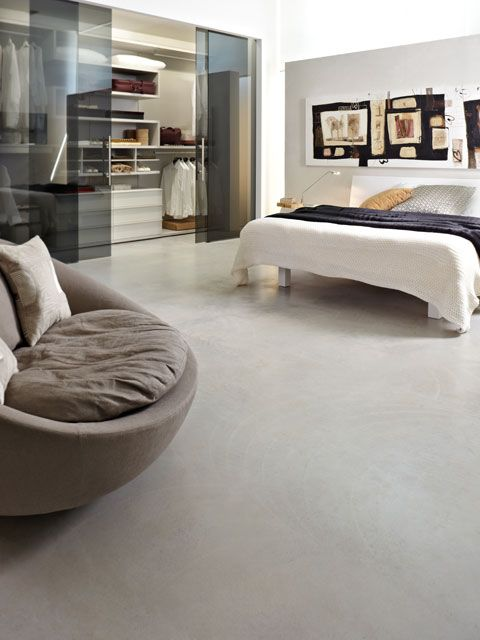grey #microtopping floor in modern bedroom and walk-in closet  #fashion #concrete http://www.idealwork.com/Micro-Topping-Features-and-benefits.html