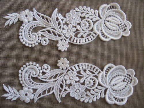 White lace applique Venise lace applique lace by Threads2Trends, $3.00