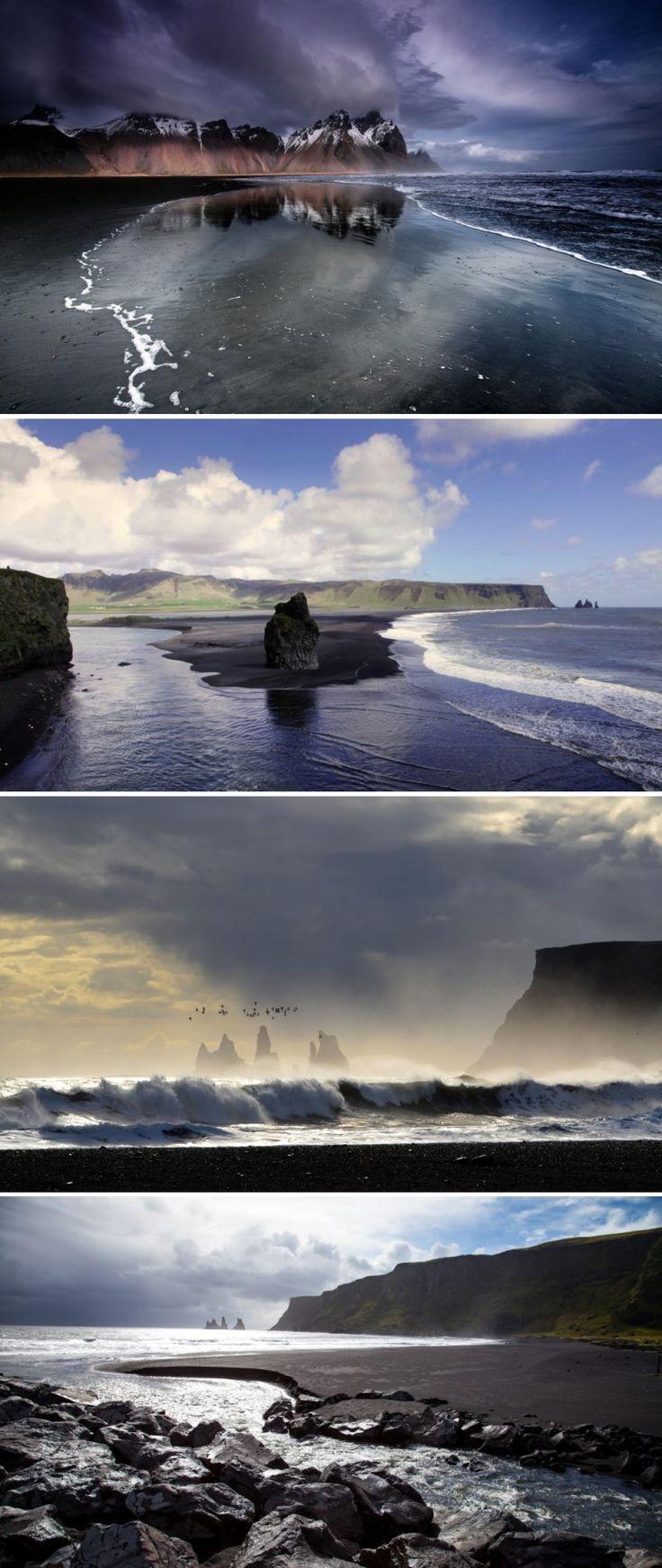 Очень и очень необычный чёрный пляж близ самой южной исландской деревни Вик. Чёрный песок, чёрные валуны, чёрные скалы – всё это творение вулканов. Расплавленная лава стекала в море, остывала и затвердевала. Море за много лет разбивало и дробило эти лавовые окаменелости на мелкий гравий и песок.