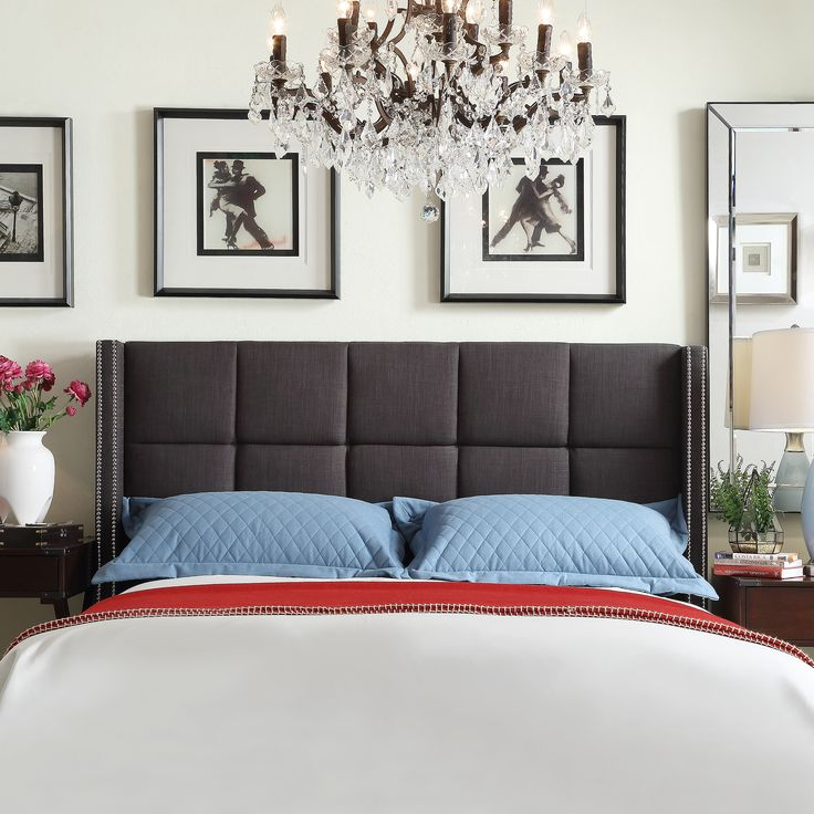 inspire q parker linen nailhead wingback panel upholstered queensized headboard by inspire q