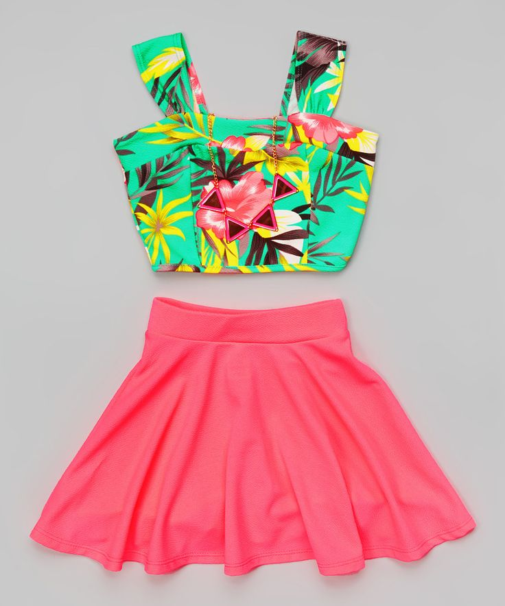 Look at this Mint Floral Crop Top Set - Girls on #zulily today!