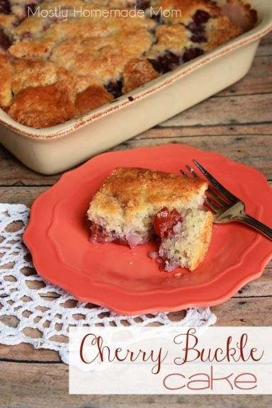 Cherry Buckle Cake - Just flour, sugar, milk, and canned cherries for this incredibly simple and classic cake!