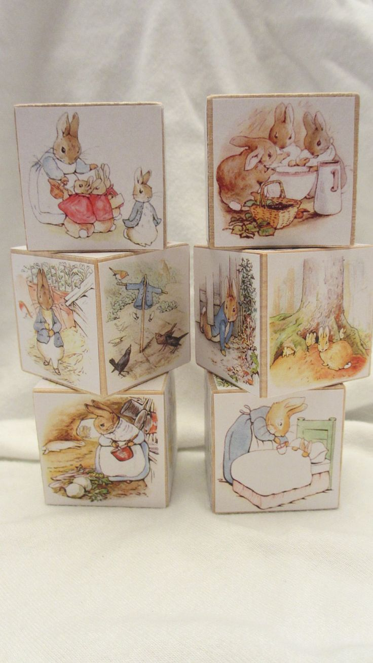 Decopage pages from old Beatrix Potter books onto plain wooden blocks.