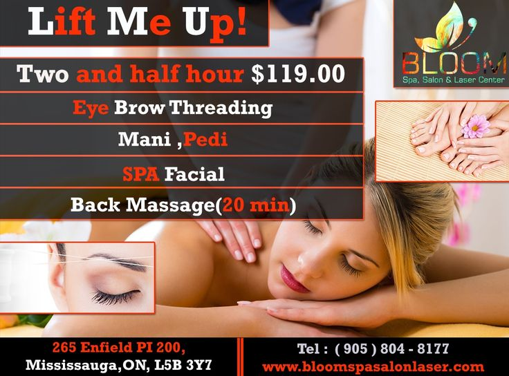 Bloom Offers Special Lift Me Up Package, A Package Which Can Make You Look Adorable & Charming. Including: Eye Brow Threading  Manicure, Pedicure  Spa Facial Back Massage ( 20 Mins )  In Just $119.00 For APPOINTMENT & More QUERIES : Call : 905-804-8177 Visit :www.Bloomspasalonlaser.com #Salonnspa #Nails #Beauty #Fashion #Manicure #Beautiful #Cute #Pedicure #Silver #Bridalmakeup