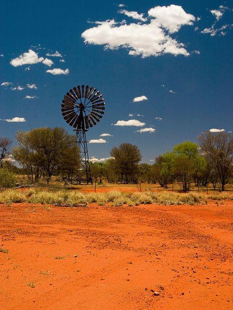 A Southern Cross windmill near Three Ways, Australia