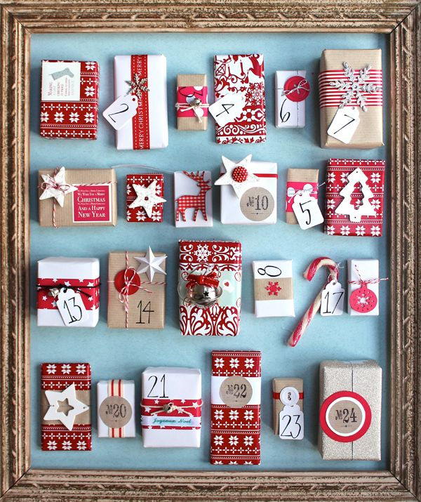 Advent calendar DIY idea with picture frame and Christmas presents