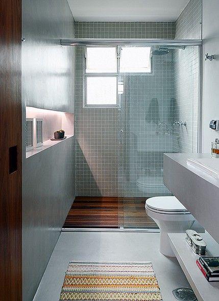 Banheiros e lavabos  Madeira, Boxes and Ali -> Decoracao De Banheiro Branco E Cinza