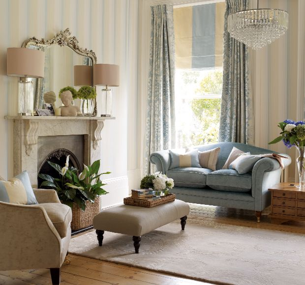 casual living room blue and gold | Draper stripe wallpaper in duck egg , Gloucester two seater sofa in ...