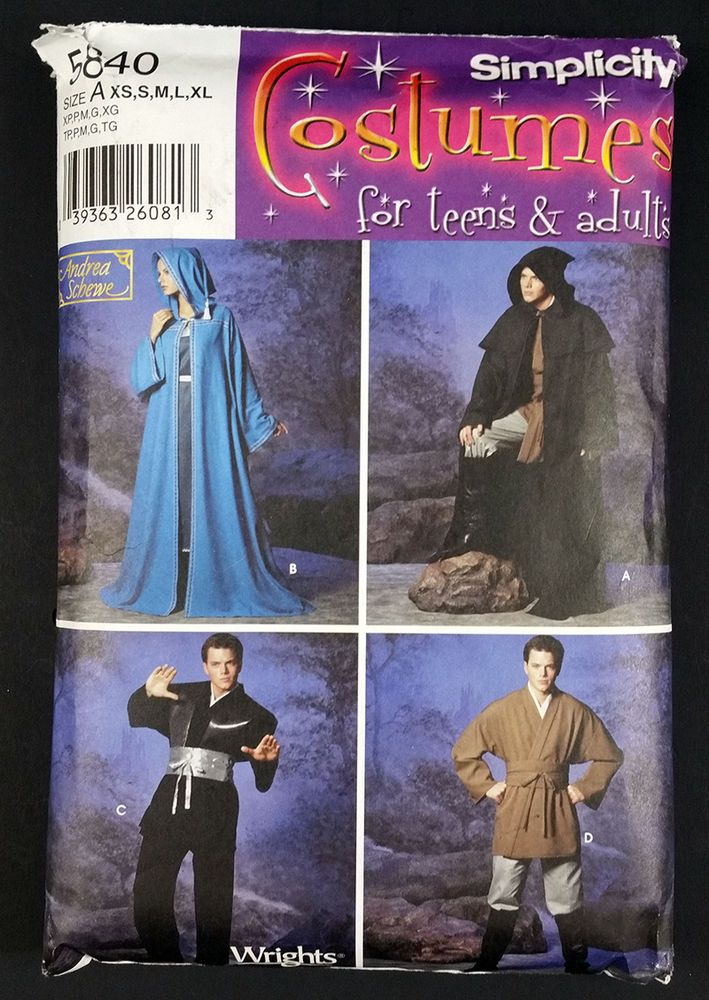 Robe Tunic Simplicity 5840 Cosplay Costume Teen Adult XS S M L XL Partially Cut