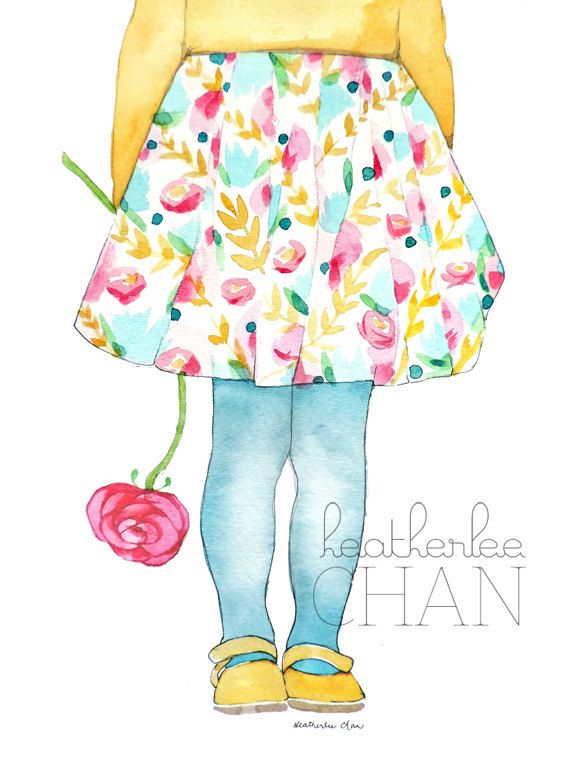 Little Lady Floral Skirt with Blue Stockings Painting - Watercolor - Art Print
