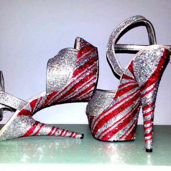 PEPPERMINT TWIST silver red candy cane swirl sexy Christmas crystal exotic dancer stripper burlesque nightclub 6 inch Pleaser platform heels on Etsy, £85.59