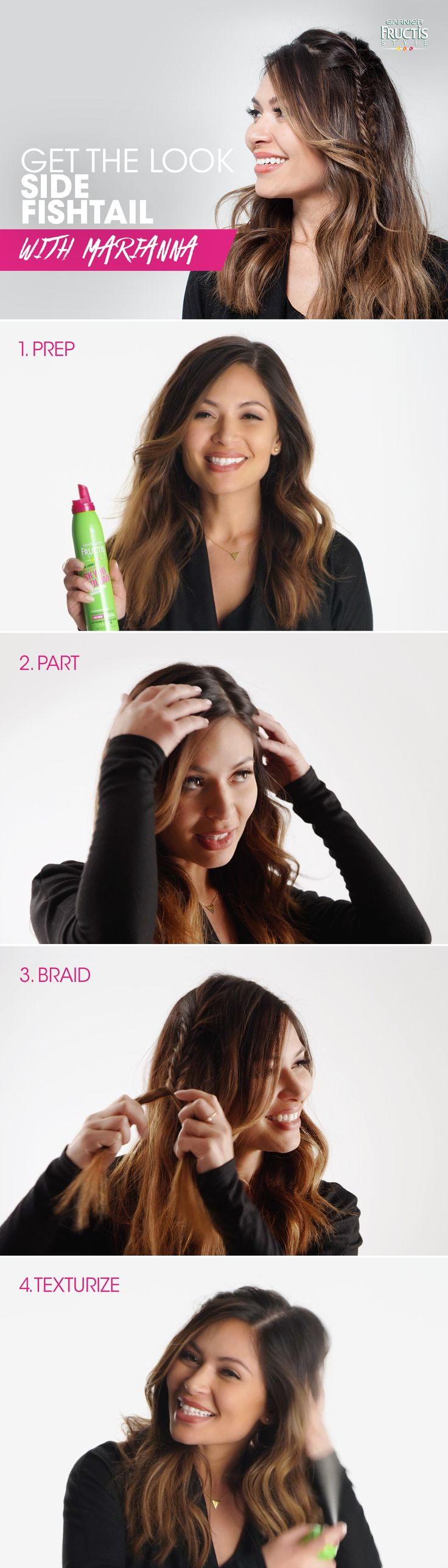 Headed to a holiday party? Watch Marianna go from messy to mistletoe using Garnier Fructis Style products: 1) Apply Sky-Hi Volume Mousse to damp hair then blow-dry. 2) Create a deep side part and separate hair into two sections. 3) Create a fishtail braid, then secure with a clear elastic. Pull hair apart to create a wider braid. 4) Add extra volume to unbraided hair with De-Constructed Texture Tease.