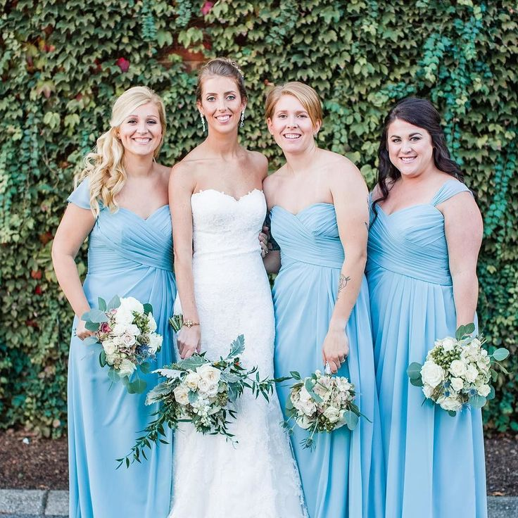 Im so excited to be shooting an outdoor wedding that isnt going to be 90 degrees this weekend. The high is supposed to be around 58 so I hope this cold natured girl doesnt freeze either!  Itll be gorgeous either way!  PS. How fab are these blue bridesmaid gowns from last year. Anyone getting a Frozen themed feel here besides me?? #amyallmandphoto