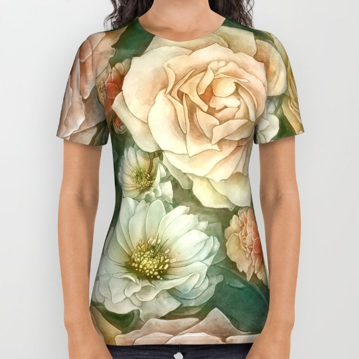 Floral rose pattern All Over Print Shirt by StrijkDesign | Society6