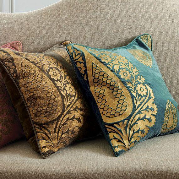 Shambhala Cushion Cover, Large - Turquoise/Gold