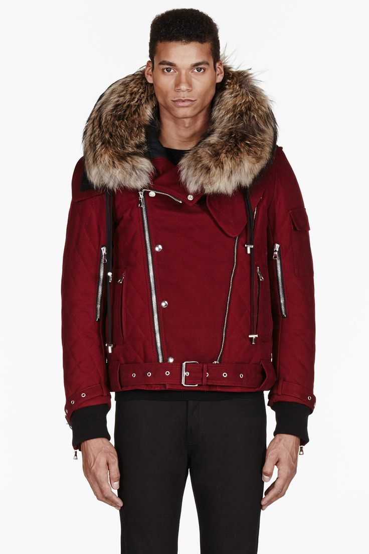 Balmain red fur-trimmed quilted biker jacket. #MustHave