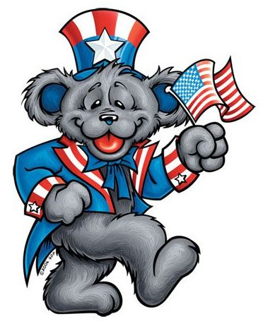 Grateful Dead PATRIOT BEAR Sticker    -FREE SHIPPING on all purchases over $15:00