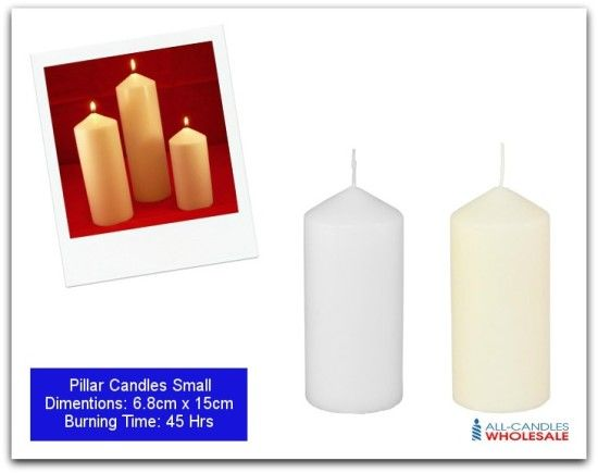 Dimensions: 6.8cm x 15cm Burning time: 45 hrs Pillar Candles make a great decorative statement in your home. Elegant and striking, these candles make wonderful centre pieces for your table or fireplace.