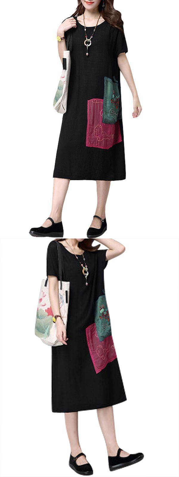 Casual women vintage short sleeve patchwork embroidery loose dress casual summer dresses with 3/4 sleeves #5x #casual #dresses #casual #dresses #for #12 #year #olds #casual #dresses #with #jackets #casual #red #dresses #for #juniors