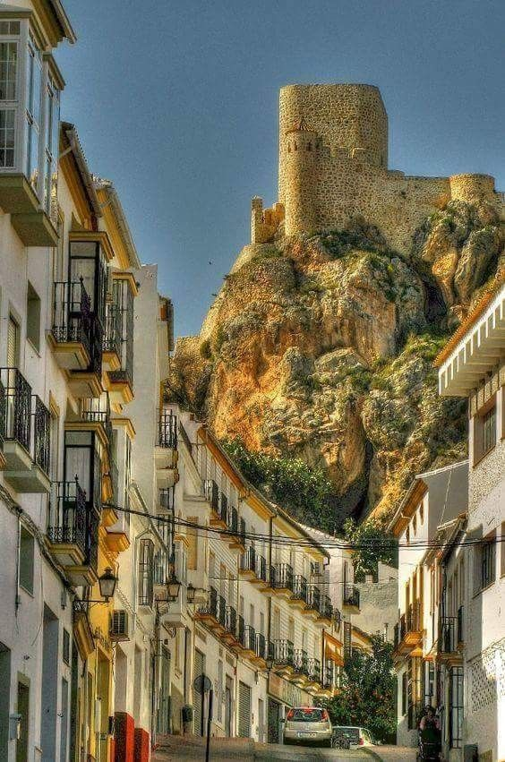 CASTLES OF SPAIN - Castle of Olvera, province of Cádiz, southern Spain. It was built in the late 12th century as part of the defensive system of the Emirate of Granada. In year 1327 king Alfonso XI wrested it from the Arabs. As part of the Christian conquest plans emanting from Seville, Olvera formed part of the advance strategy towards the Straits of Gibraltar to prevent the reinsurgence of Muslims.