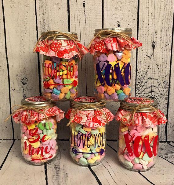 Mason Jar Candy Hearts Valentines Valentines Day Valentines Mason Jar Candy Valentine Mason Jar Mason Jar Gifts