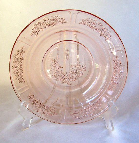 Sharon Cabbage Rose Pink Depression Glass Federal Soup Bowl Vtg