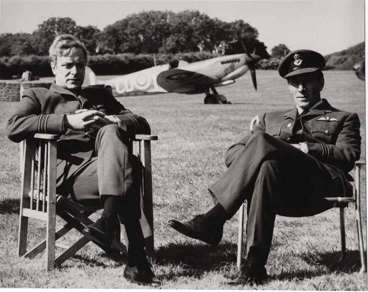 Michael Caine & Christopher Plummer on the set of The Battle of Britain movie