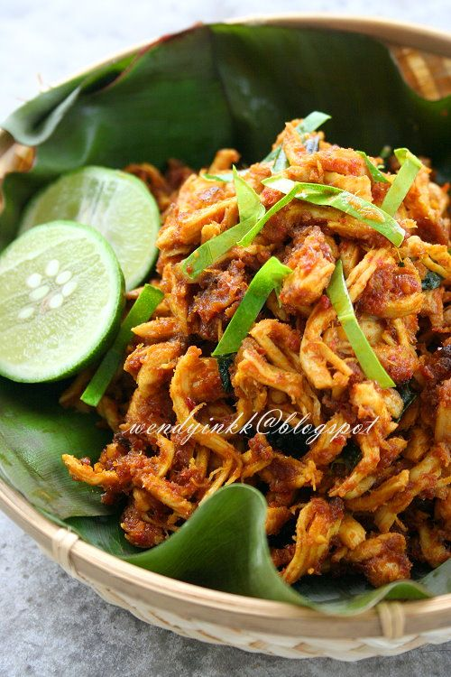 Ayam Pelalah  Balinese (Indonesian)  Shredded Chicken recipe. Wonderful flavours... can imagine how amazing this would smell while its cooking (if you have been to Bali you know what i mean.!)-d