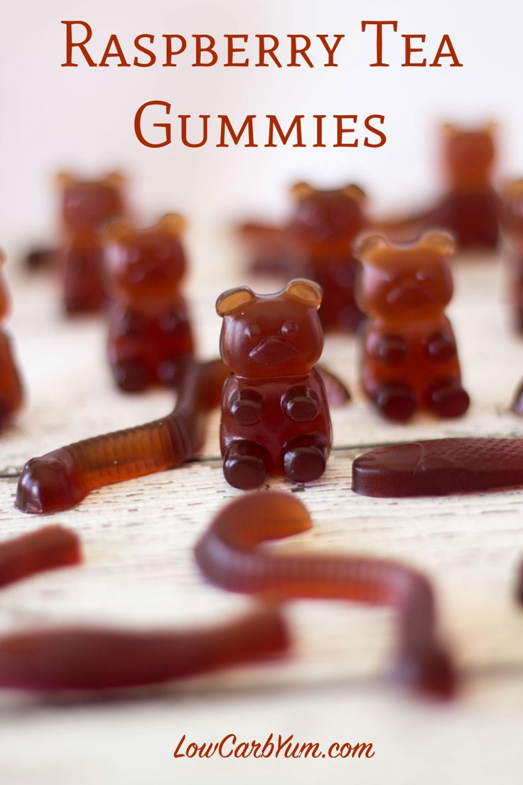 homemade low carb gummy bears recipe      2 1/2 cups water 4 herbal tea bags (I used blueberry flavored) 1/3 cup gelatin (I used Knox, 6 packets) 1/3 cup Swerve sweetener 1/4 teaspoon salt 1 teaspoon Berry Liquid Stevia or plain