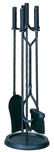 uniflame black wrought iron 5piece fireplace tools set with ringshaped base
