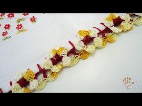 Bico de Crochê Florzinhas - Aprendendo Croche - YouTube Mais