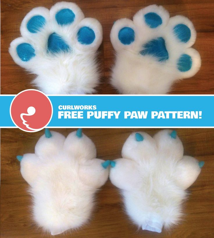Free puffy paw pattern - made by curlworks