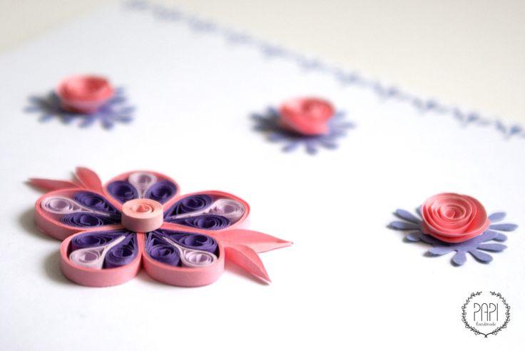 Ręcznie robiona kartka quilling z kwiatami handmade na walentynki, urodziny, gratulacje czy rocznicę