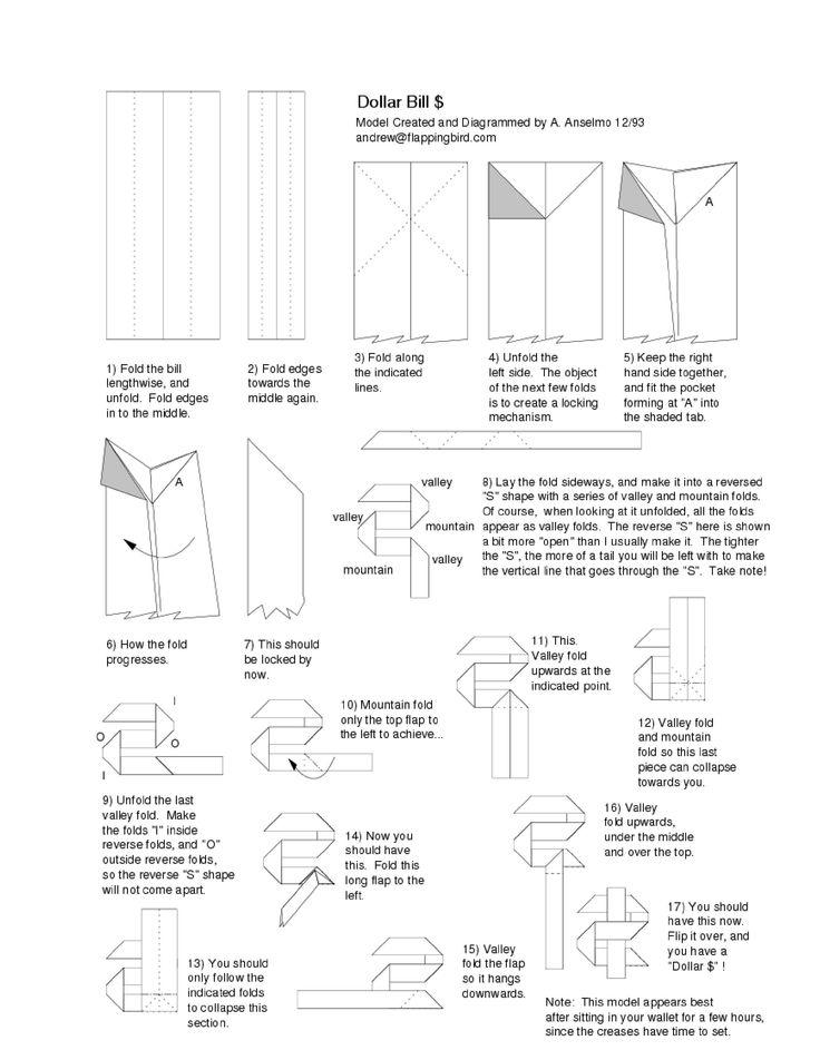 money origami dollar sign folding instructions money