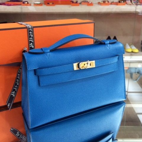 hermes leather bag - hermes kelly pochette clutch blue izmir gold epsom gold hardware ...