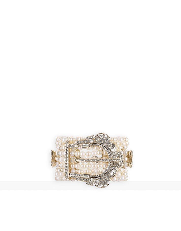 Métiers d'Art 2016/17 Paris Cosmopolite - metal, pérolas de água-doce, pérolas de vidro, strass & resina-dourado, branco perolado & cristal