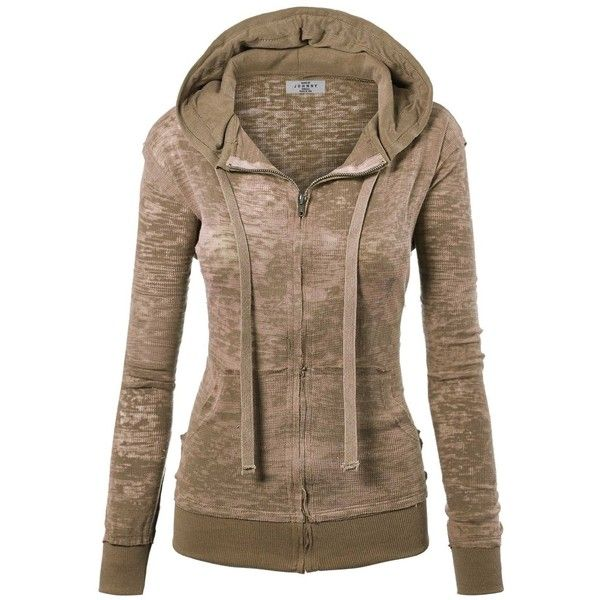 MBJ Womens Long Sleeve Burnout Thermal Zip Up Hoodie (€13) ❤ liked on Polyvore featuring tops, hoodies, thermal hoodies, brown hoodie, long sleeve hoodies, thermal hooded sweatshirts and zip up hoodie