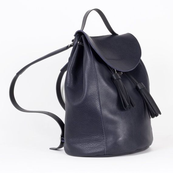Navy blue backpack drawstring with tassels / To order / Leather Backpack / Leather rucksack / Womens backpack / Christmas Gift / To order