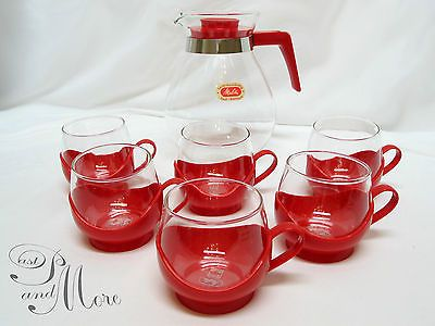 Vintage Teeservice von Melitta Eine Teekanne mit 6 Teegläsern Feuerfestes Glas in Antiquitäten & Kunst | eBay