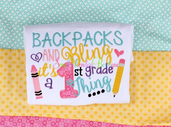 Backpacks and Bling Shirt - Back To School Embroidered Shirt - Back To School - School Shirt - School Grade Shirt - First Day of School