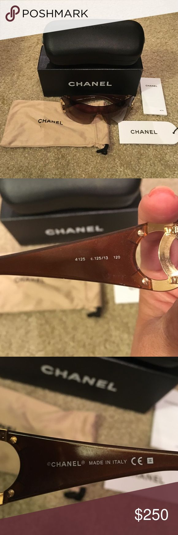 Authentic Chanel 4125 Sunglasses Gradient Brown Shades. Authentic with case and eyeglass bag. Chanel Accessories Sunglasses